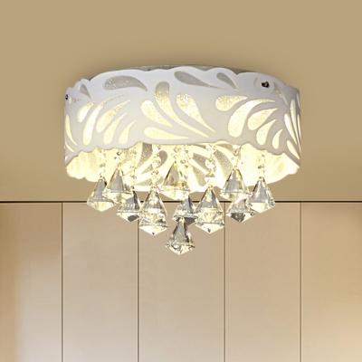 White Drum Cutouts Ceiling Lighting Modern Acrylic 12.5
