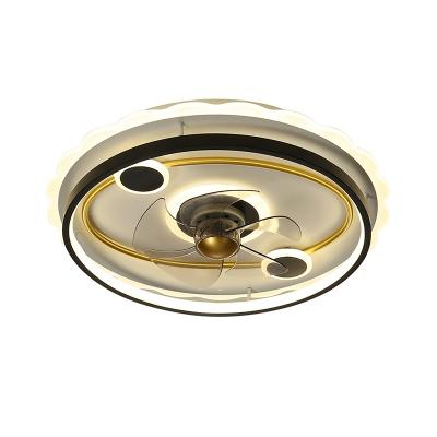 Metallic Round Semi Flush Mount Modern 19.5