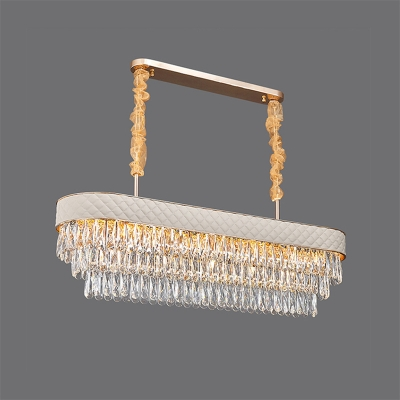 Modern 3-Tier Oblong Suspension Light 12-Head Clear Crystal Island Pendant with Leather Trim