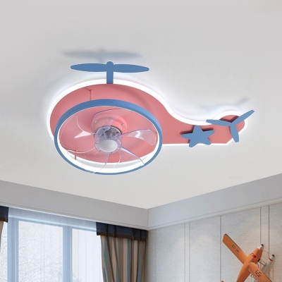 Modernist Helicopter Semi Flush Light Metal LED Bedroom Hanging Fan Lamp Fixture in Pink, 18