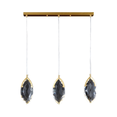 Modernist Teardrop Pendant 3-Head Clear Faceted Crystal LED Multi Hanging Light over Table
