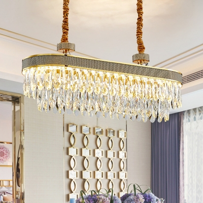 Oversized Tiered LED Island Pendant Modern Clear Crystal Hanging Ceiling Light for Restaurant