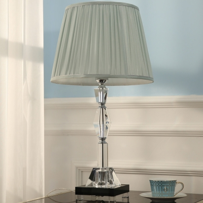 Pleated Fabric Shade Cone Night Light Contemporary LED Table Lamp with Clear Crystal Column, HL662473