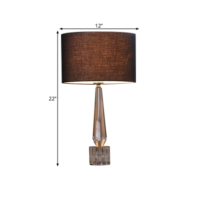 1 Light Night Lighting Country Style Cylinder Fabric Table Light in Black/White/Flaxen with Crystal Base