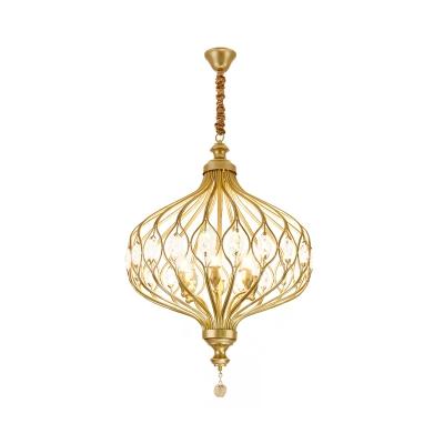 4/6-Bulb Lantern Chandelier Postmodern Black/Gold Crystal Embedded Hanging Ceiling Light over Dining Table