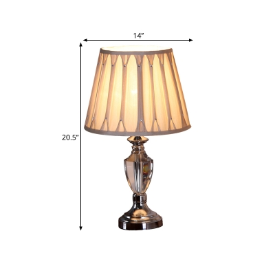 Chrome Pleated Shade Nightstand Light Traditional Fabric 1 Light Bedroom Night Lighting with Urn Base