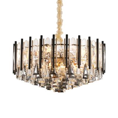 Clear Crystal Cone Down Lighting Pendant Modern 9 Lights Living Room Chandelier in Black