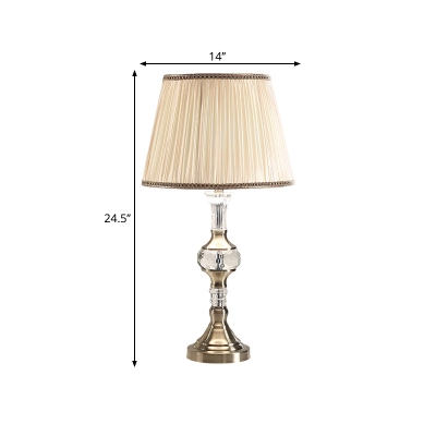 Drum/Conical Living Room Night Lamp Traditional Fabric 1 Light Beige Nightstand Lighting with Crystal Base