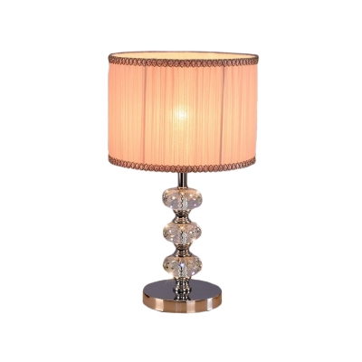 Fabric Drum Shade Night Stand Light Traditional 1-Light Bedroom Crystal Table Lamp in Black/Silver/Pink