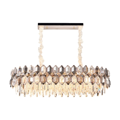 12 Lights Island Pendant Modern Oblong Clear Cut Crystal Suspended Lighting Fixture