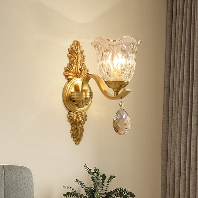 Blossom Living Room Wall Lighting Faceted Glass 1 Bulb Modern Sconce Light Fixture in Brass with Crystal Drop