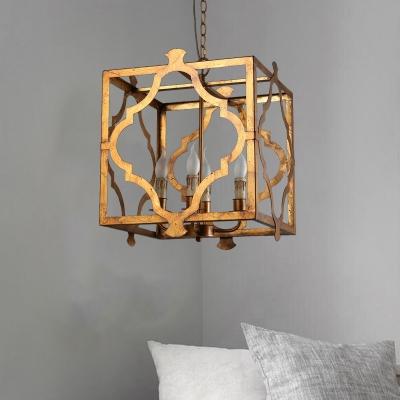 Brown Quatrefoil Cage Pendant Chandelier Country Style Metal 4 Bulbs Kitchen Drop Lamp