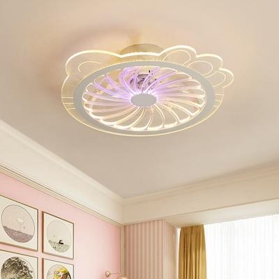 Clear Cat Semi Flush Light Contemporary LED Metallic Pendant Fan Light Fixture, 20