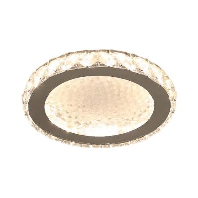 Drum Flush Mount Lighting Modernity Crystal Block LED Corridor Close to Ceiling Lamp in Chrome, Warm/White Light