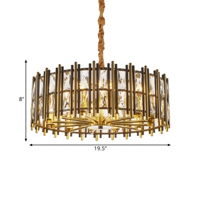 Drum Pendant Lamp Contemporary Faceted Clear Crystal Prism 9/12 Heads Dining Room Chandelier in Black and Gold