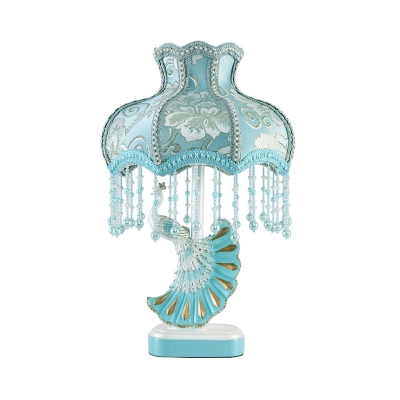 Resin Peacock Night Light Nordic Style 1-Bulb Pink/Blue Table Lamp with Scalloped Fabric Shade