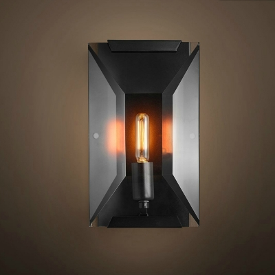 Simple 1 Light Flush Mount Wall Sconce Black Rectangle Wall Light Fixture with Metal Shade