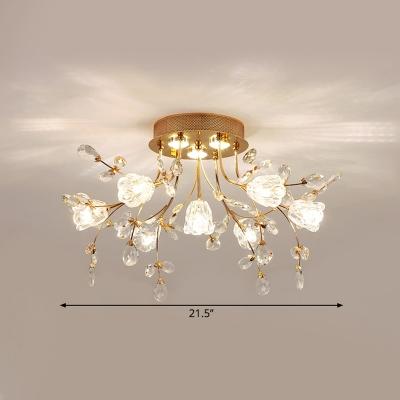 Simplicity Flower Ceiling Flush Beveled Crystal 7 Bulbs Corridor Semi Flush Light Fixture
