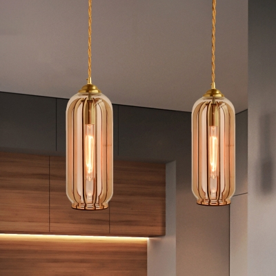 Beautifulhalo coupon: 1 Bulb Capsule/Dome Pendulum Light Vintage Style Brass Amber Glass Ceiling Suspension Lamp