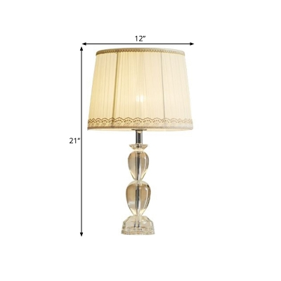 1-Light Beveled Crystal Table Light Countryside Beige Finish Oval Bedroom Nightstand Lighting with Drum Fabric Shade
