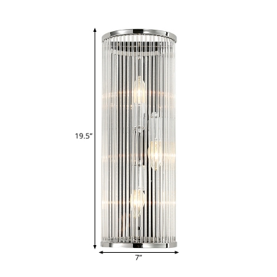 3-Bulb Clear Crystal Rods Flush Mount Modern Chrome Cylindrical Living Room Wall Light Sconce