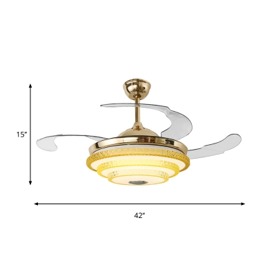 3-Tiers Hanging Pendant Modern Beveled Crystal LED Gold Hanging Ceiling Light with 3 Blades, 42