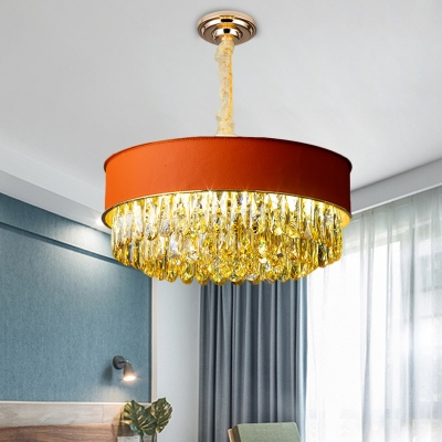 9 Lights Drum Suspension Lamp Modern Style Crystal Rectangle Down Lighting Pendant in Black/Red/Blue