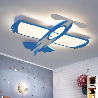 Airplane Boys Bedroom Flush Mount Fixture Acrylic LED Cartoon Flush Mount Lighting in Blue