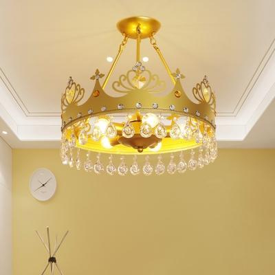 Crown Metal Flush Mount Lighting Kids 5-Light Pink/Gold Semi Flush Ceiling Light with Crystal Decor