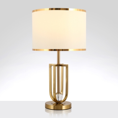 Drum Fabric Night Table Lamp Classic 1 Light Bedside Nightstand Light with Gold Open Cage