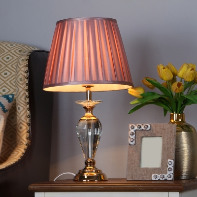Fabric Conic Night Light Country Style 1 Head Study Room Table Lamp in Pink with Crystal Urn Base