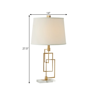 Fabric Gold Table Lighting Conical 1-Bulb Classic Style Nightstand Lamp with Rectangle Frame