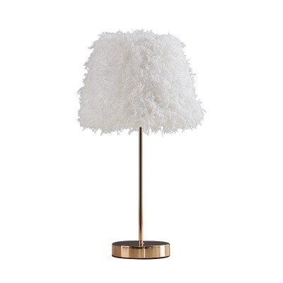 Nordic Style 1 Bulb Nightstand Lamp White/Gold Conical Task Lighting with White/Pink Feather Shade