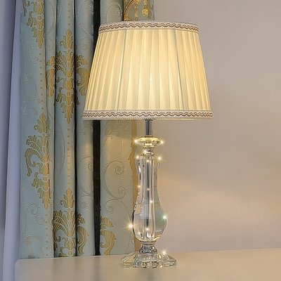 Traditional Empire Shade/Scalloped Table Lighting 1 Bulb Fabric Nightstand Lamp in Beige/Sky Blue/Burgundy