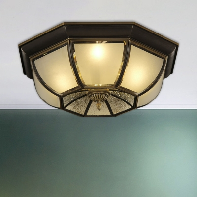 Umbrella White Glass Flush Mount Fixture Colonial 3/4 Heads Living Room Flush Ceiling Light in Black, 14