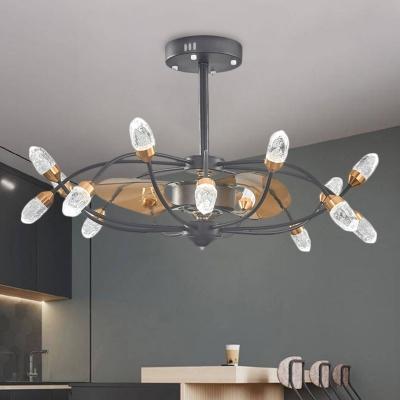 3 Blades Branch Crystal Fan Lamp Rural 15 Lights Dining Room Semi Flush Mount Ceiling Fixture in Black, 35.5