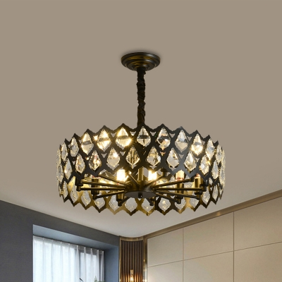 Drum Pendant Chandelier with Teardrop Grid Design Classic Crystal 16