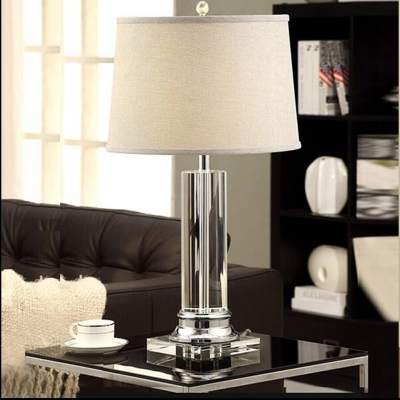 Fabric Beige Night Stand Lamp Drum Shaped 1 Head Traditional Table Lighting with Cylinder Base