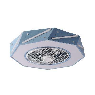 Macaron LED Semi Flush Mount Lighting with Acrylic Shade White/Black/Pink Finish Octagon Ceiling Fan Lamp, 21.5