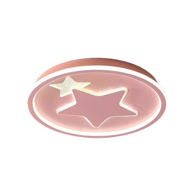 Macaron Star Ceiling Light Fixture Acrylic LED Children Room Flush Mount Lamp in Black/Pink/Blue