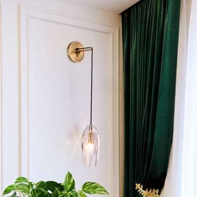 Single Oval Wall Hanging Light Modern Brass Cut Crystal Wall Sconce Light Fixture for Living Room