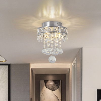Single Semi Flush Light Fixture Modern Draping Small Clear Beveled Crystal Close to Ceiling Light