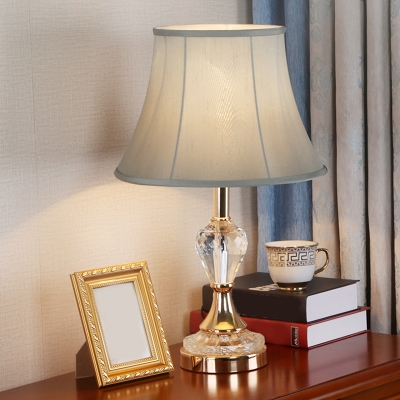 1 Light Paneled Bell Nightstand Light Countryside Beige/Green/Pink Fabric Night Table Lamp with Crystal Urn Base