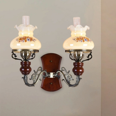 2 Heads Wall Mounted Lighting Countryside Decanter-Like Tan Glass Wall Lamp with Flower Pattern in Bronze