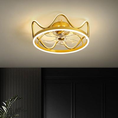Blades Crown Hanging Fan Light Fixture Metallic Kids Black/Gold LED Semi Flush Mount Lighting, 22