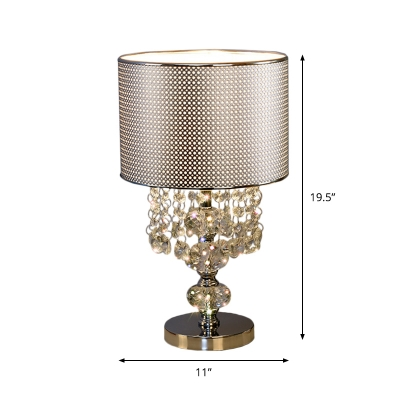Drum Metal Mesh Table Lamp Traditional Single Head Bedroom Desk Lamp with Crystal Droplets in Chrome