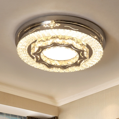 LED Bedroom Ceiling Light Fixture Simple Chrome Flushmount with Drum Faceted Crystal Shade in Warm/White Light