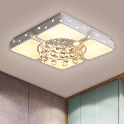 White Square Flush Mount Lighting Simplicity 19.5
