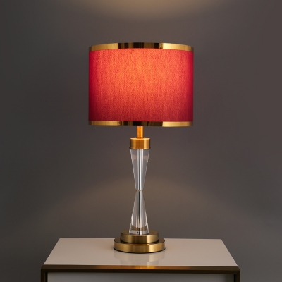 1 Light Table Lamp Traditional Bedroom Night Lighting with Drum Fabric Shade in Red