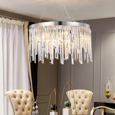 Chrome 2/6-Bulb Pendant Chandelier Modern Clear Crystal Fringe Hanging Light for Bedroom, 8